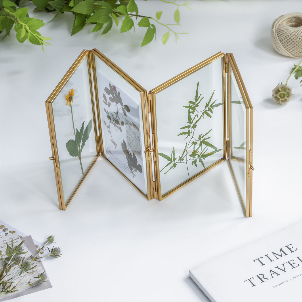"Handmade Tabletp Brass Glass Photo Picture Display Folding Screen Type Frame 3-Folded 5"" X 7"" - NCYPgarden"