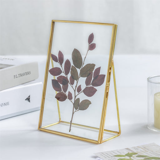 "NCYP 5"" X 7"" Tabletop Gold Brass Rectangle Glass Artwork Certificate Photo Picture Display Frame - NCYPgarden"