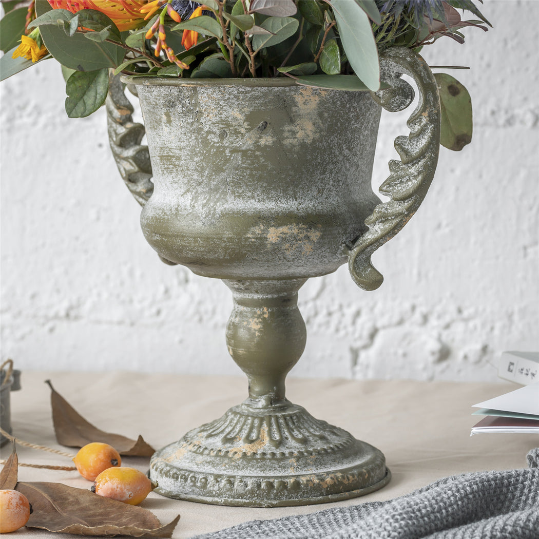 Metal Vintage Rustic French Urn Planter Flower Pot for Centerpiece Design Grail with Handle - NCYPgarden