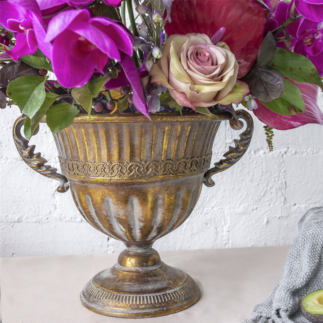 Vintage Gold Rustic French Style Metal Urn Planter Pot for Floral Arrangement Wedding Centerpiece - NCYPgarden