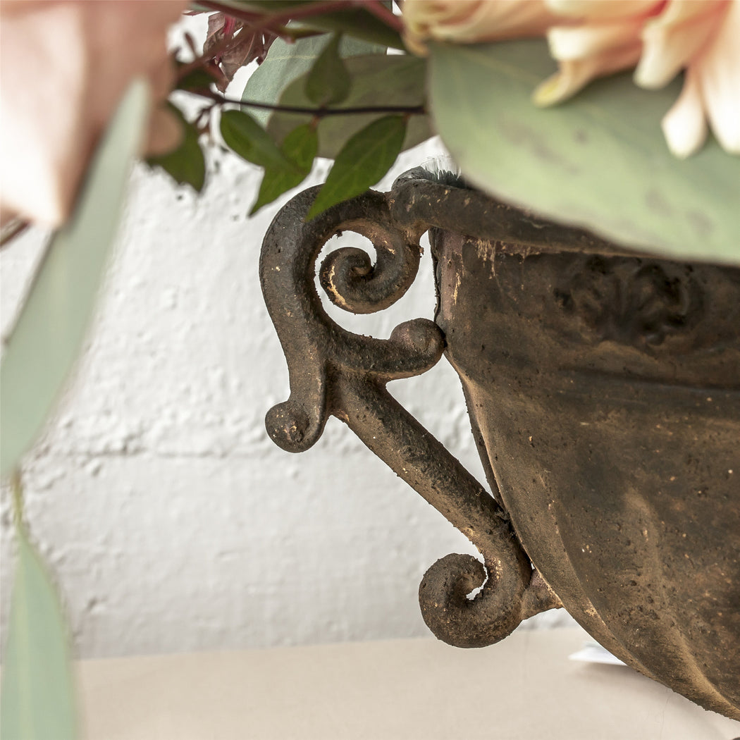 Metal Vintage Rustic French Urn Planter Flower Pot High bowl Shape for Classic Floral Centerpiece - NCYPgarden