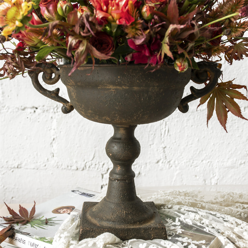 Metal Vintage Rustic French Urn Planter Flower Pot for Floral Arrangement Centerpiece - NCYPgarden