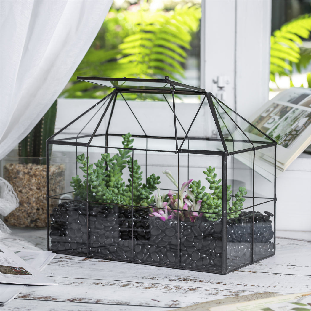 NCYP Glass Geometric Terrarium Tin-Sealed Brass Black House Shape Container with Grid and Swing Lid - NCYPgarden