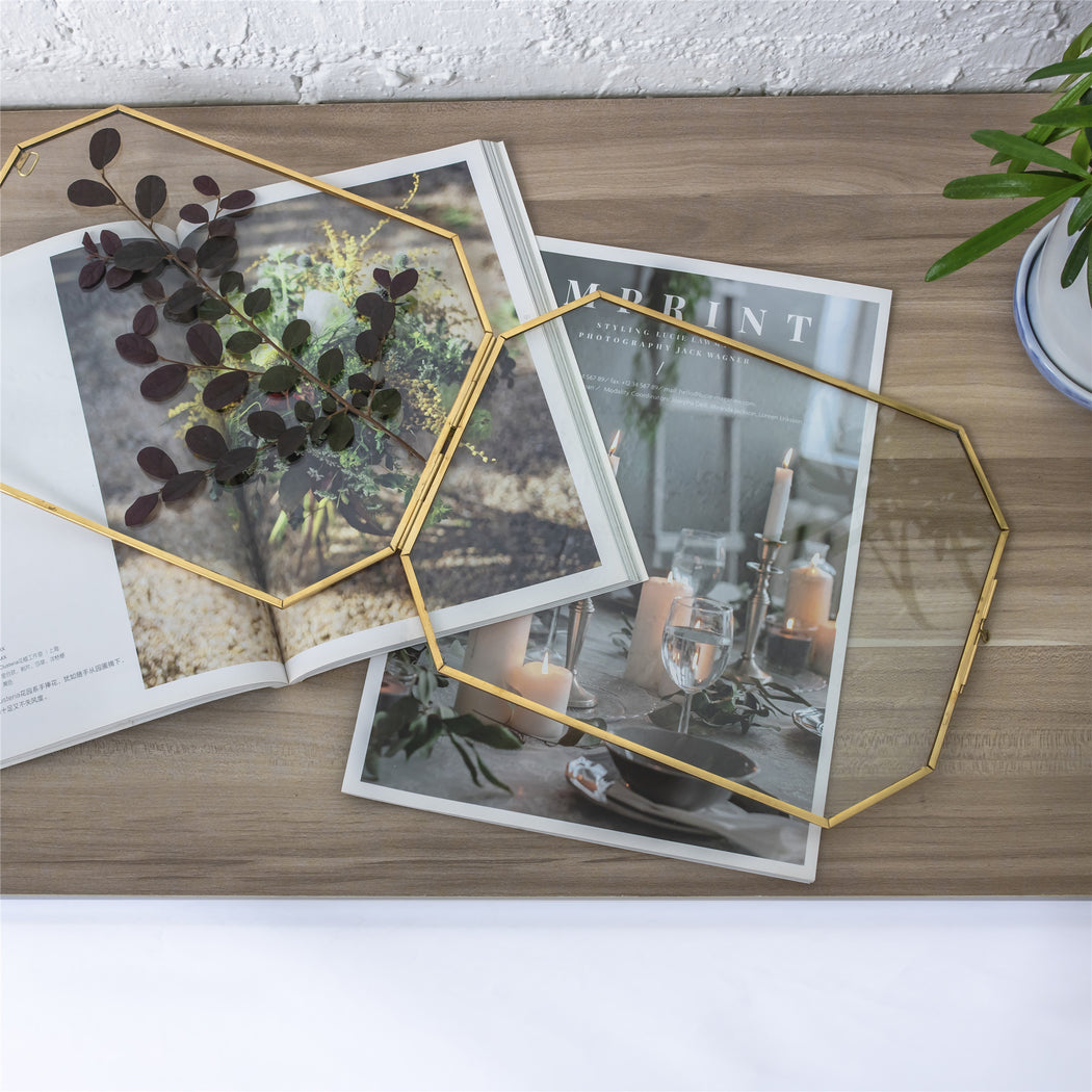 Wall Hanging Long Octagon Herbarium Brass Glass Frame for Pressed Flowers Dried floating Frame - NCYPgarden
