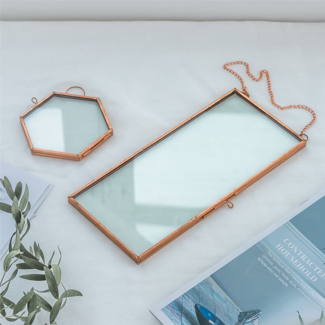 Hanging 4x9 inches Pink Long Herbarium Pure Copper Glass Frame for Pressed Flowers Dried Flowers - NCYPgarden