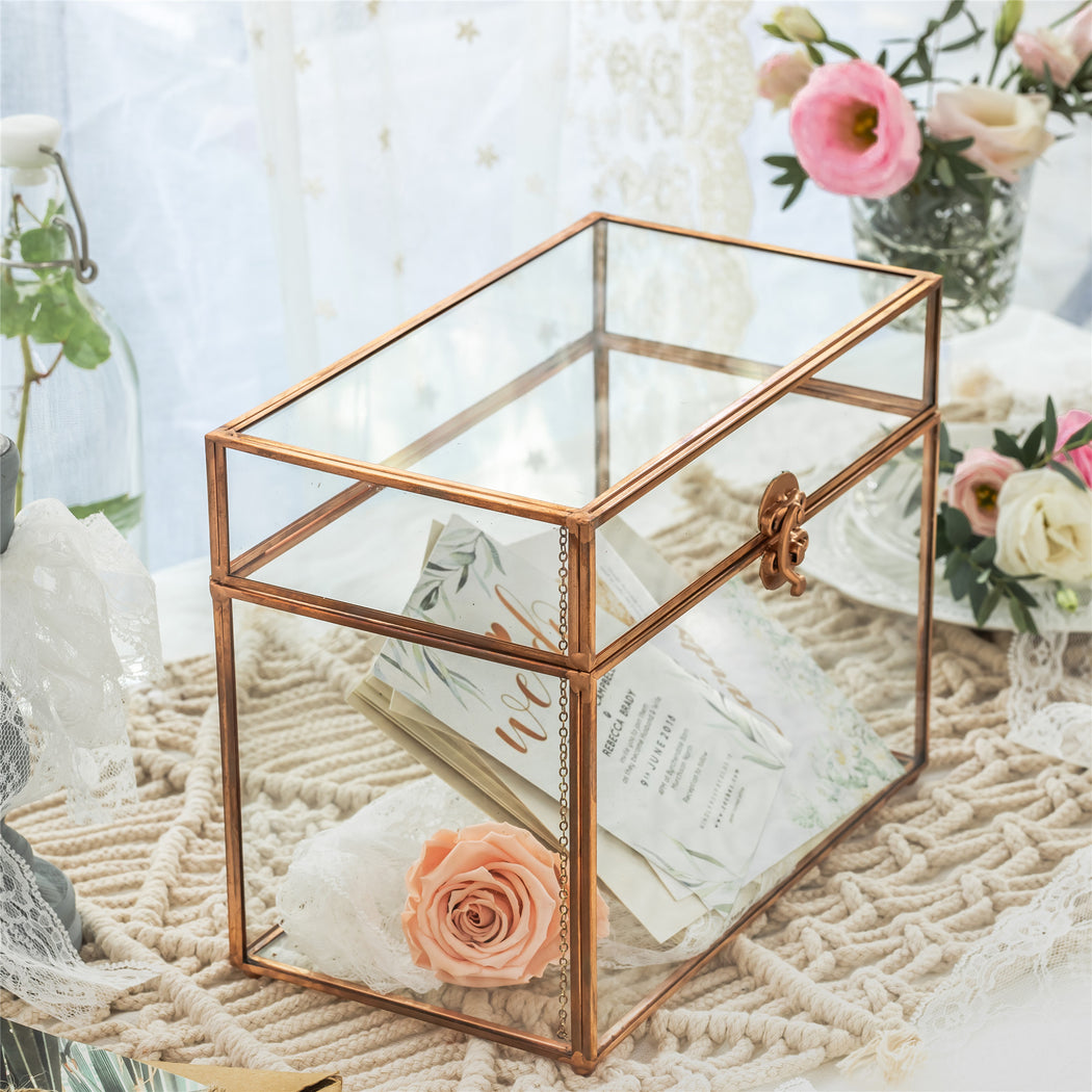 Pure Copper Medium Geometric Glass Card Box Terrarium Foot Latch Rose Gold Handmade Rectangular - NCYPgarden