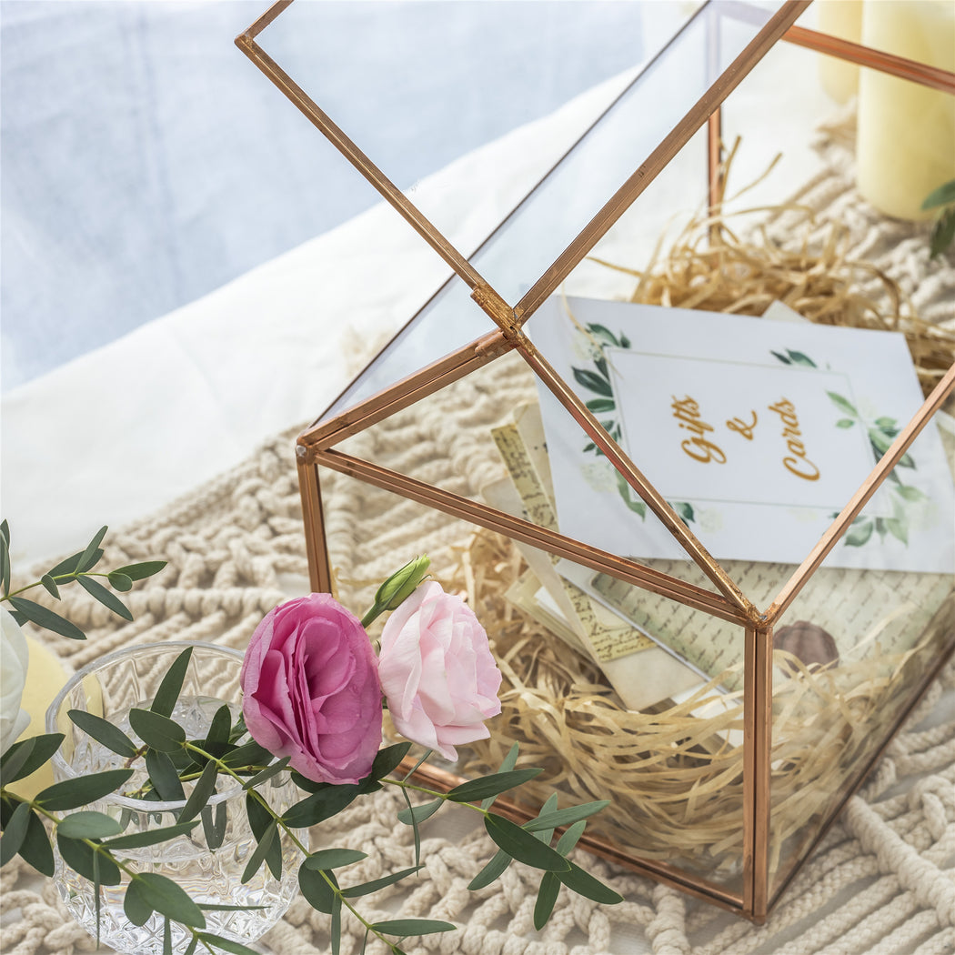 Geometric Glass Card Box Terrarium Rose Gold Handmade Pure Copper House Shape for Wedding Receiption - NCYPgarden