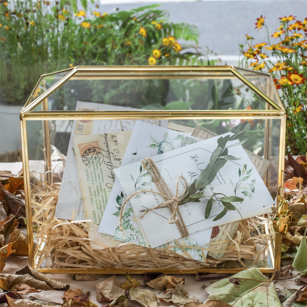 Large Geometric Glass Card Box Terrarium with Slot and Heart Lock, Foot, Gold, Handmade, Brass,for Wedding Receiption, Wishwell, Keepsake Centerpiece