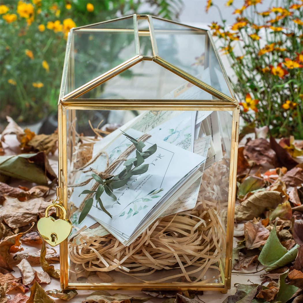 Large Geometric Glass Card Box Terrarium with Slot and Heart Lock, Foot, Gold, Handmade, Brass,for Wedding Receiption, Wishwell, Keepsake Centerpiece - NCYPgarden