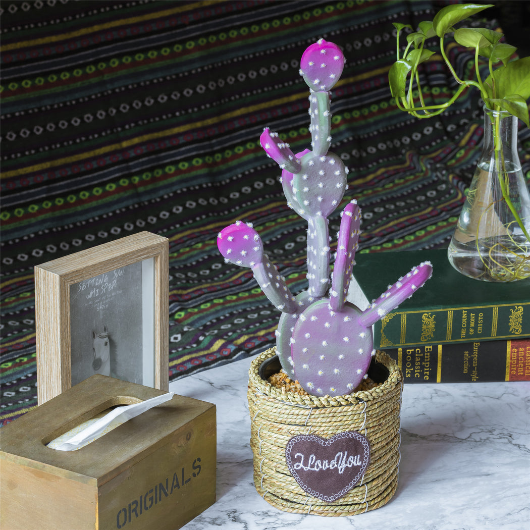"NCYP 17.9"" Small Natural Looking Artificial Faux Fake Prickly Pear Cactus Desert Plant with in Grass Woven Basket for Home Garden Office Floor Decor"
