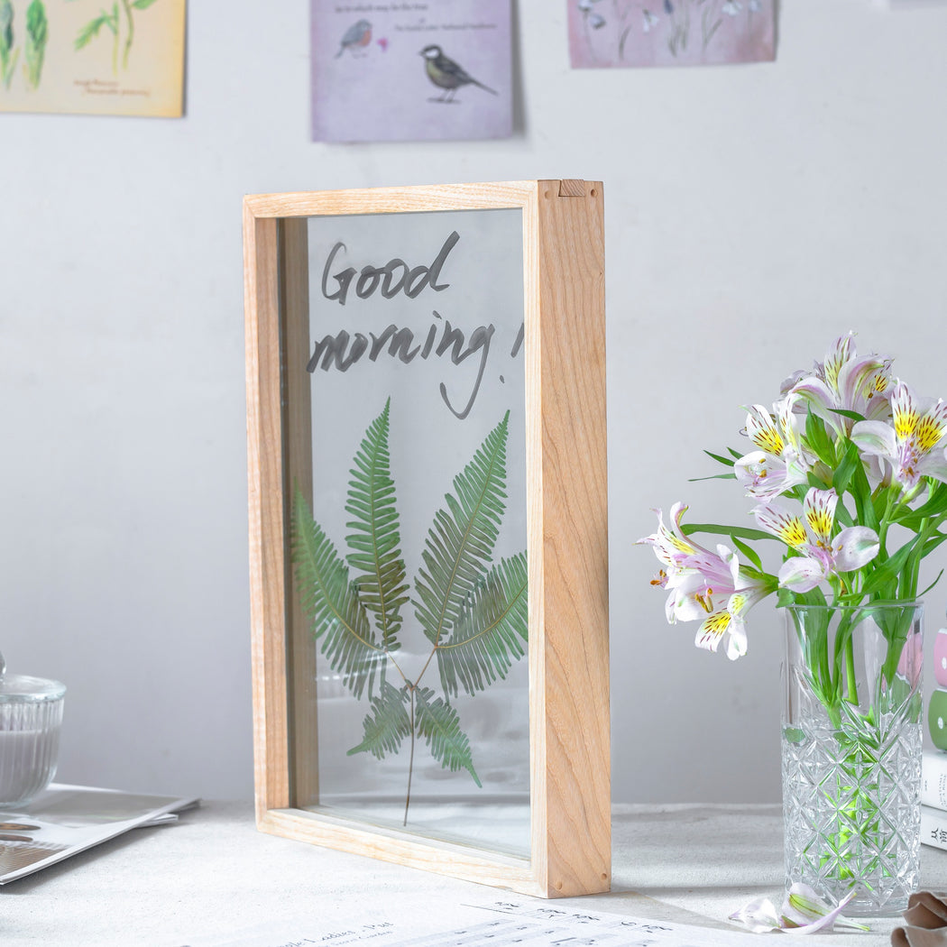 NCYP Handmade Tabletop Wall Hanging Natural Wood Tempered Glass Writing Dry Erase Whiteboard Greeting Floating Frame Dried Flower Custommade - NCYPgarden