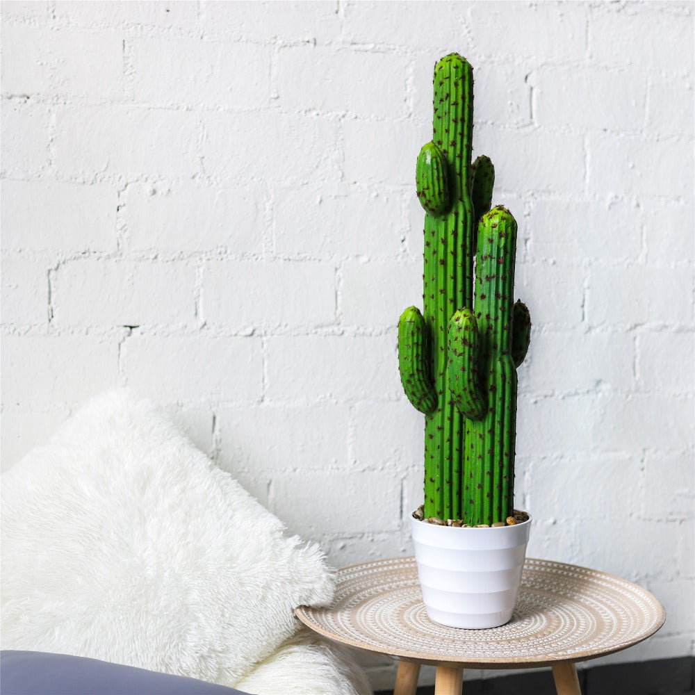 "31.1"" Natural Large Artificial Faux Fake Saguaro Desert Plant with White Planter for Home Office - NCYPgarden"