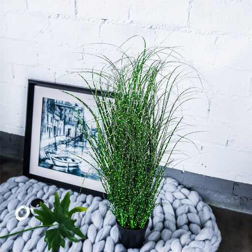 "31.4"" Large Natural Faux Fake Plant with Black Planter Pot Tall Artificial Zebra Grass Silvergrass - NCYPgarden"
