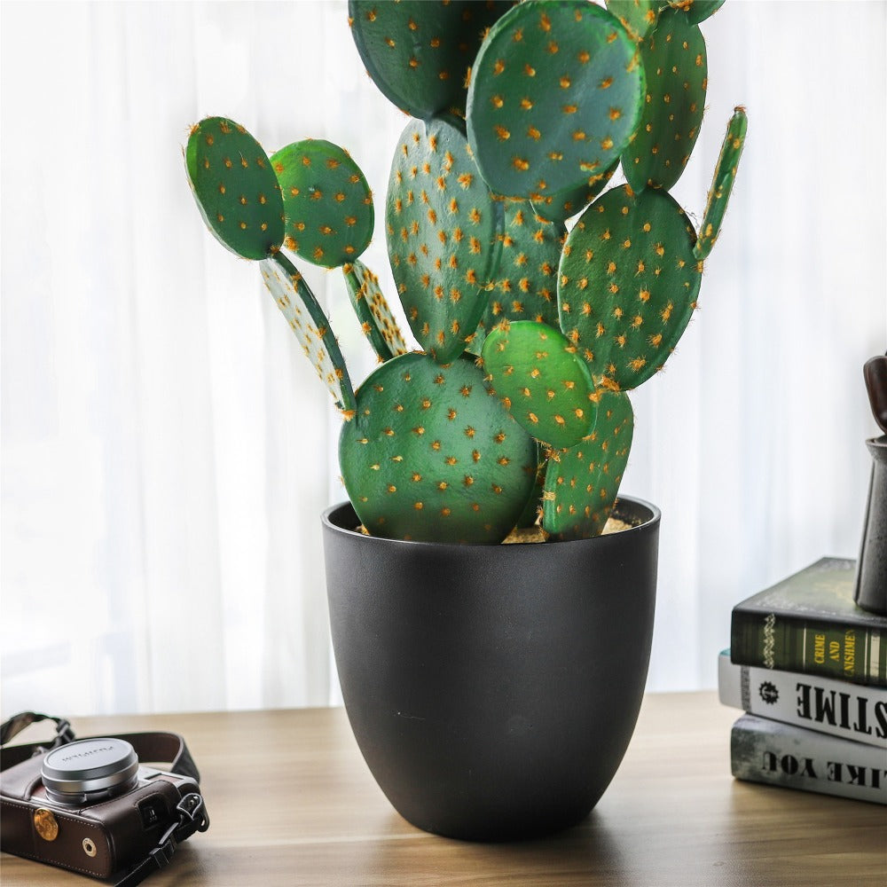 "34.2"" Large Natural Artificial Faux Fake Prickly Pear Cactus Desert Plant with Black Planter Pot - NCYPgarden"