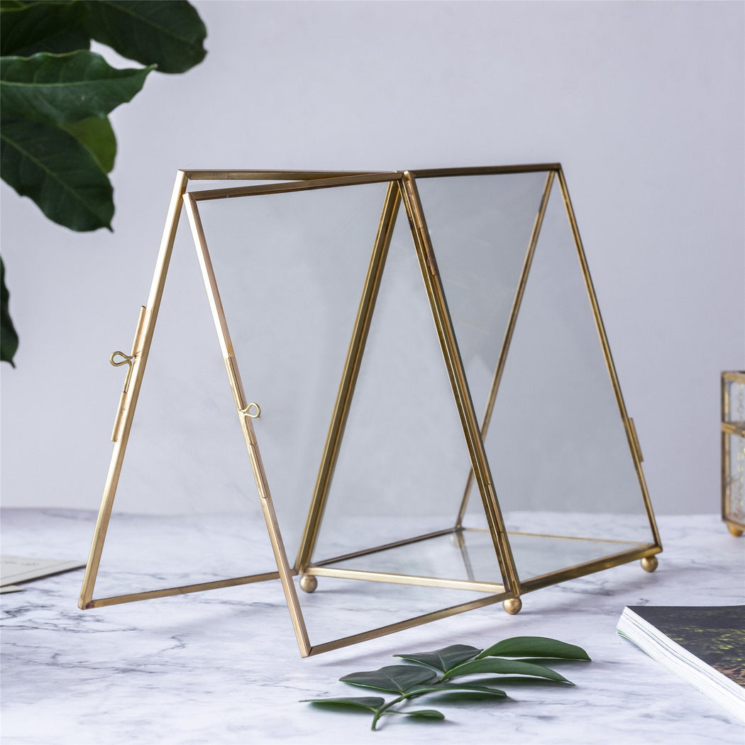 "5x7"" Brass Gold Tabletop Vintage Frame Geometric Ornament Plant Specimen Clip Modern Decor Card Holder 2-Folded Reception Engagement - NCYPgarden"
