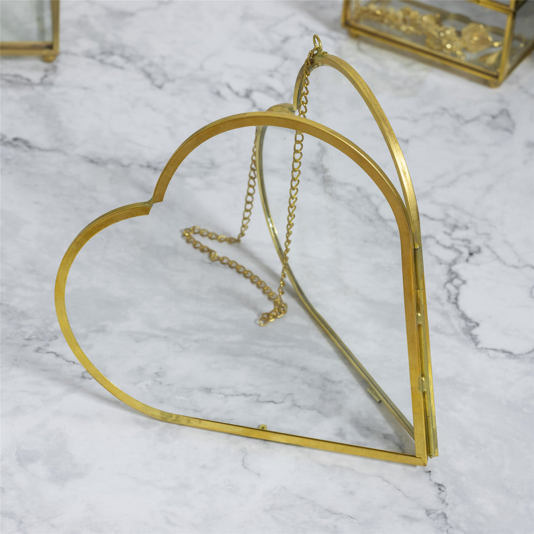 NCYP Heart Shape Brass Clear Glass Picture Frame Wall Hanging Photo Specimen Home Geometric Vertical Decor Card Holder Display Gift - NCYPgarden