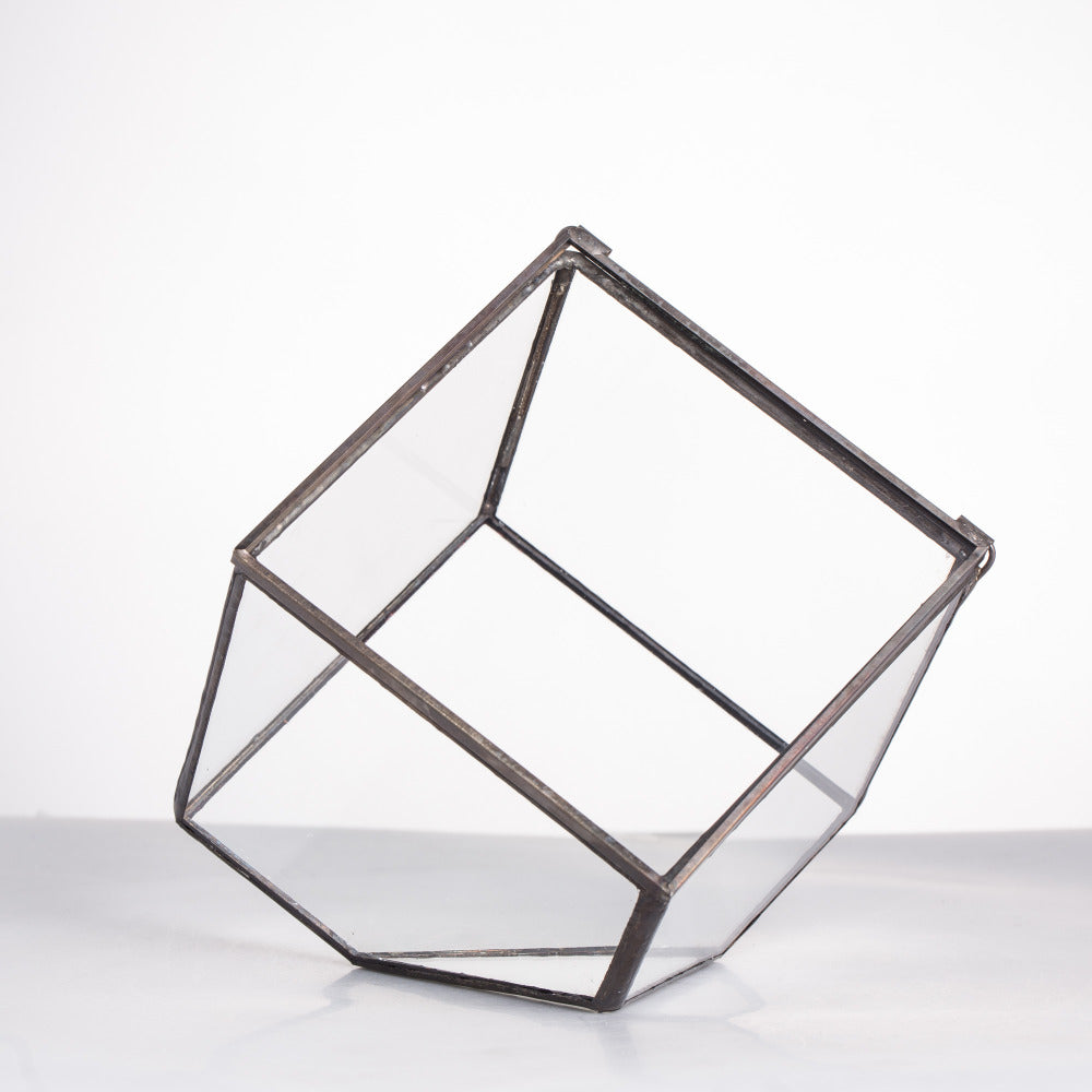 Handmade Inclined Cube Glass Geometric Terrarium Box Various Size Door Available for Succulent Moss - NCYPgarden