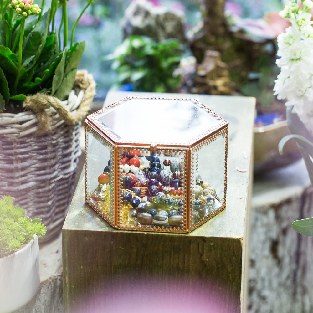 Handmade Rose Gold Vintage Glass Geometric Jewelry Box Hexagonal for Necklace Ring Jewelry - NCYPgarden
