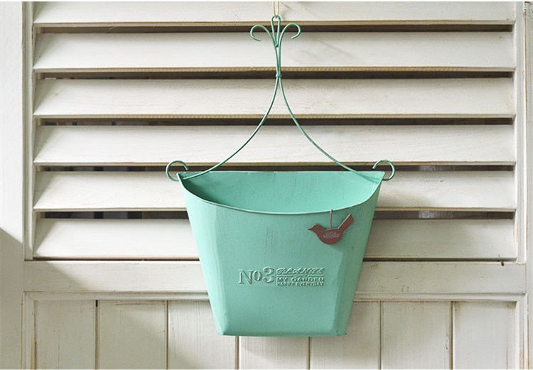 Handmade Vintage French Green Metal Echelon for Wall Mounted Hanging Flower Pot Basket Display - NCYPgarden