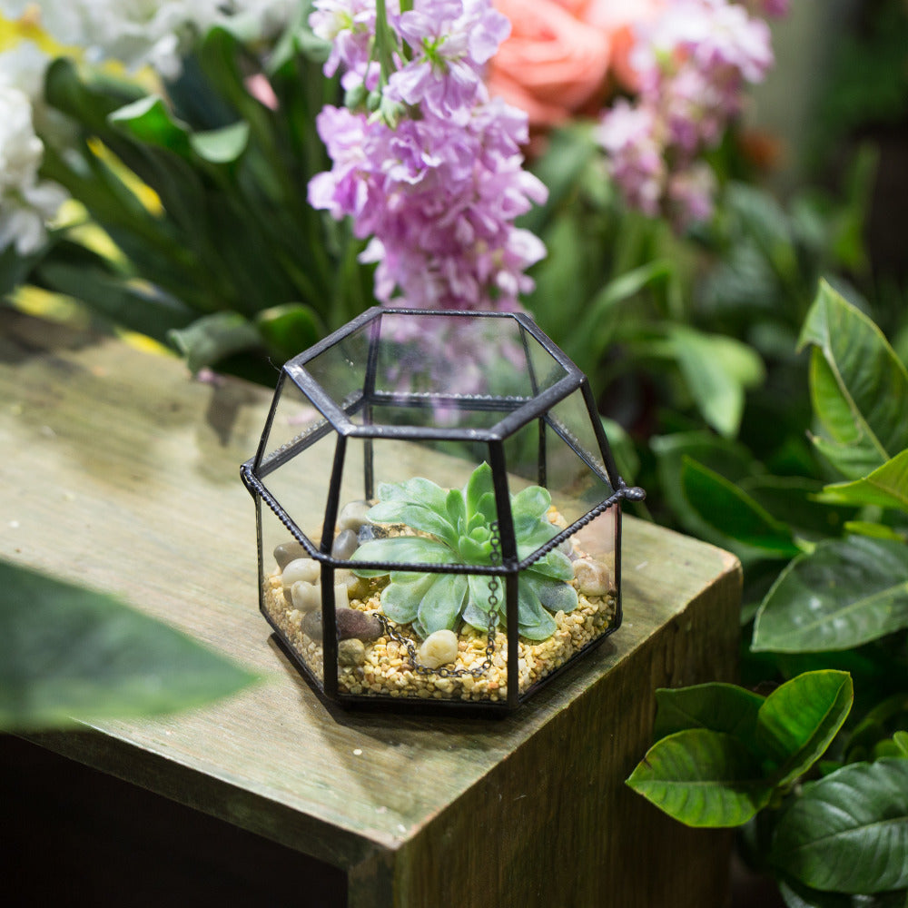 Handmade Small Glass Jewelry Geometric Box Terrarium for Succulents Ring Box - NCYPgarden