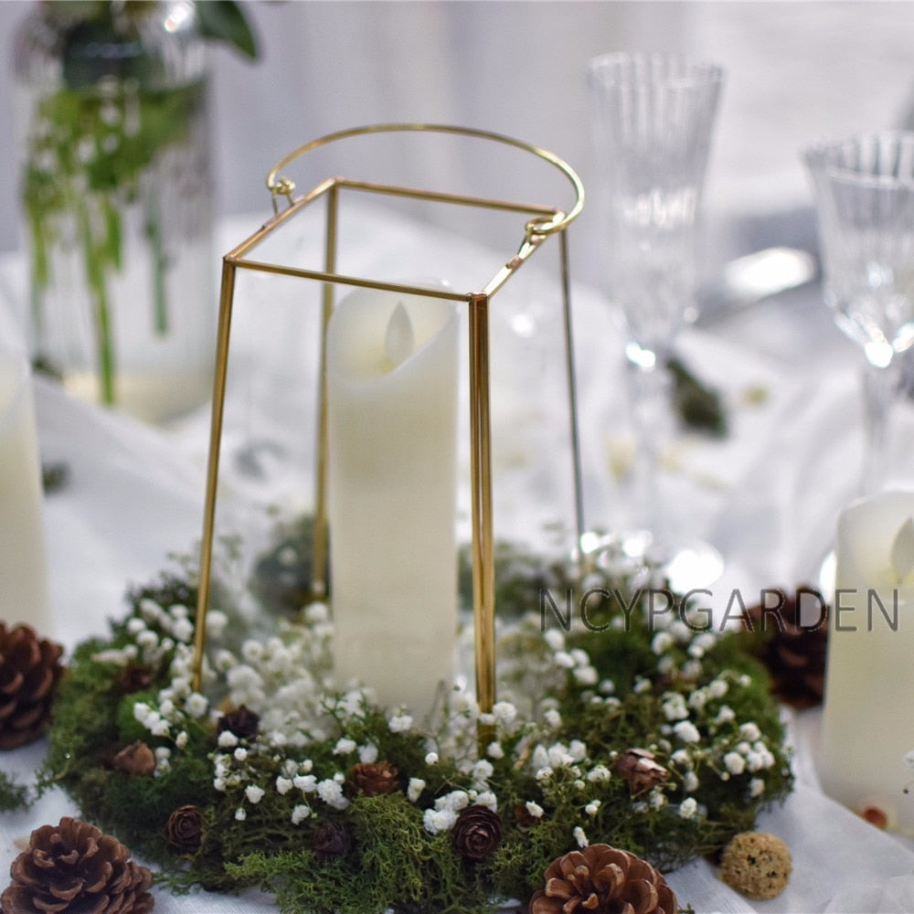 Handmade Gold Echelon Geometric Glass Terrarium Holder Lantern Hanging for Succulents Candles - NCYPgarden