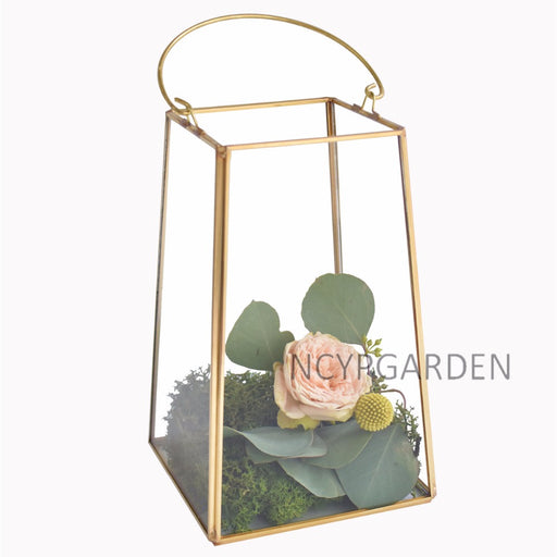 Handmade Copper Gold Echelon Geometric Glass Terrarium Holder Lantern Hanging Wall for Wedding - NCYPgarden