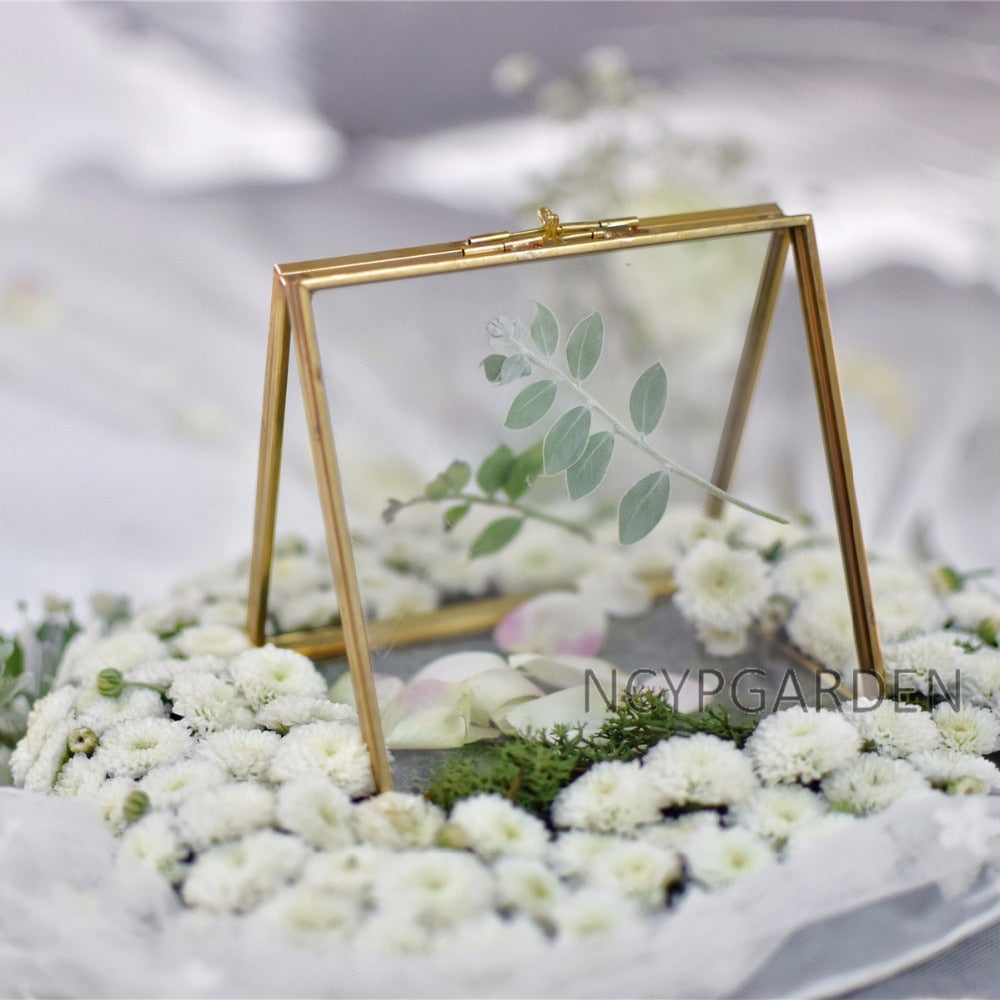Handmade 2 Sided Standing Copper Brass Glass Rectangular Photo Frame for Wedding - NCYPgarden