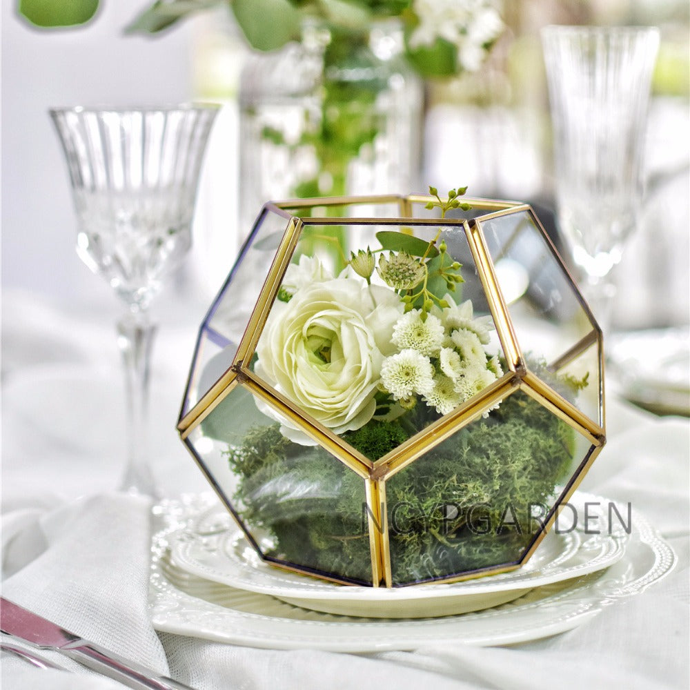 Handmade Gold Tabletop Polyhedron Glass Geometric Terrarium for Wedding Section Reception - NCYPgarden