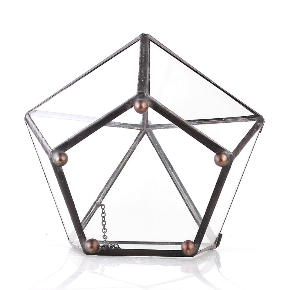 Handmade Tabletop Artistic Glass Jewelry box Geometric Terrarium for Weddiing Home Office Decor - NCYPgarden
