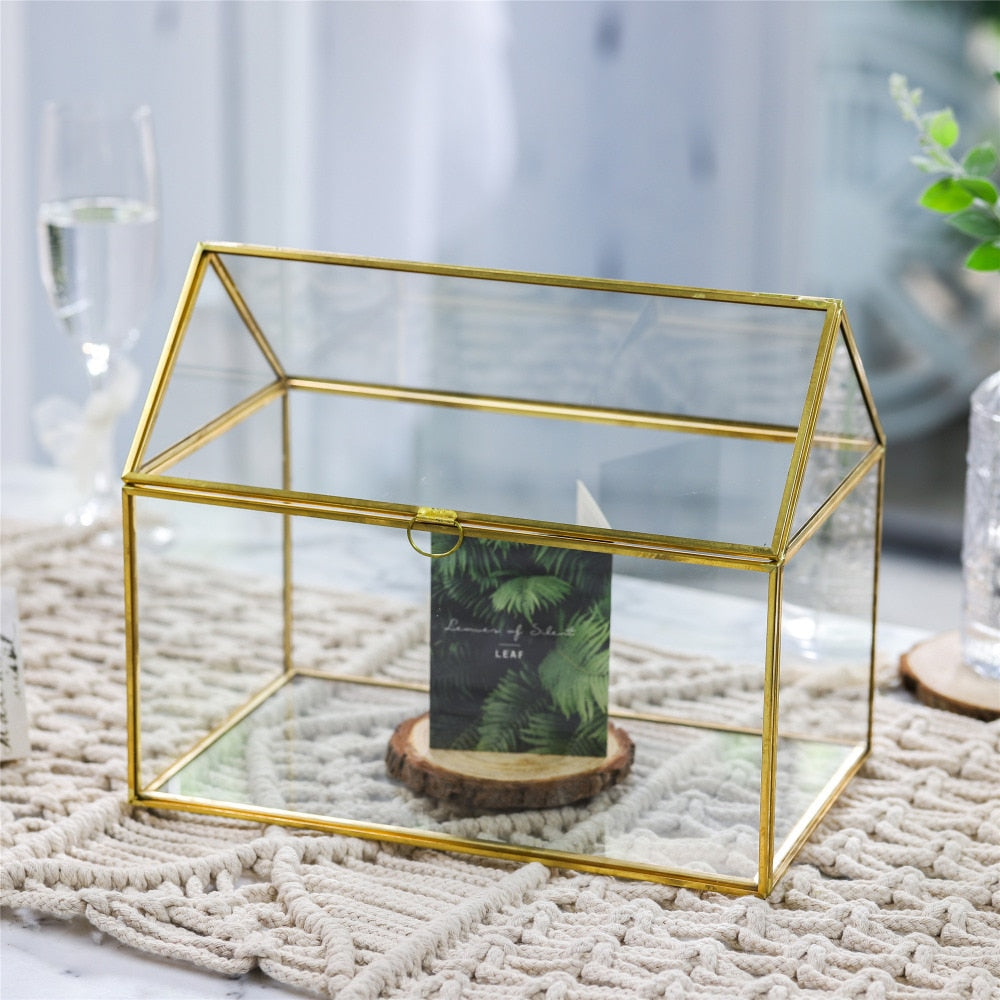 Handmade Gold House Shape Glass Geometric Terrarium  Card Wishwell Reception Box for Wedding Ceromony - NCYPgarden