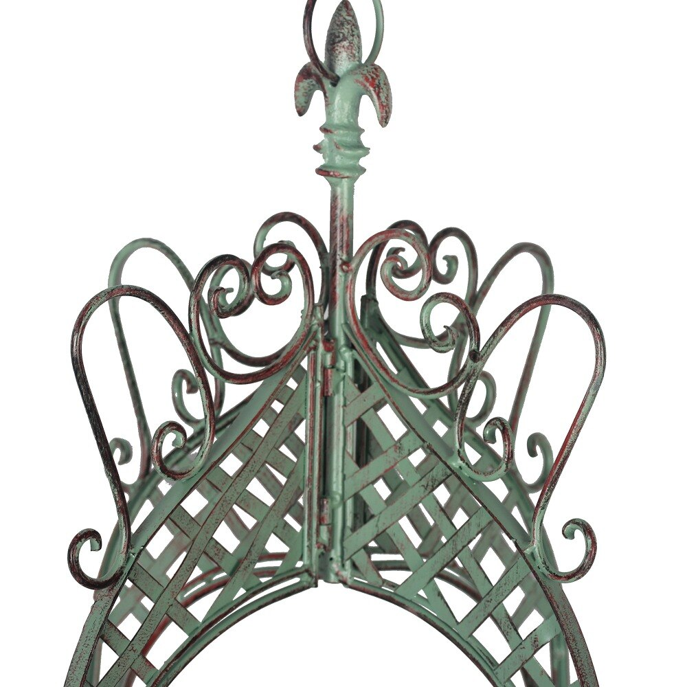 Vintage Hanging Wrought Iron Round Flower Basket Flower Pot Holder for Balcony Garden - NCYPgarden