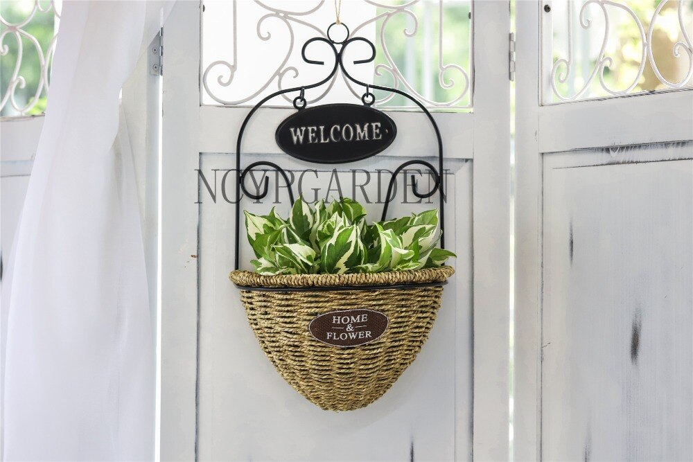 Pastoral Style Handmade Metalwork Wickerwork Basket Wall Hanging Planter for Home Garden Flower Pot - NCYPgarden