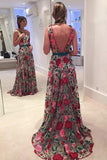 Fabulous Scoop A-line Lace Rose Floral Embroidery Long Prom Dresses, JJ1000