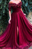 Burgundy Long Slit Half Sleeve Off Shoulder Hand-Made Flower Prom Dress,JJ1002