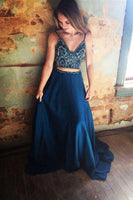 Two Piece Chiffon Rhinestone Spaghetti Straps Long Prom Dresses on Line, JJ1008