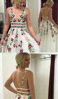 Charming Ivory Lace A Line V Neck Printed Long Prom Dresses with Embroidery,JJ1009