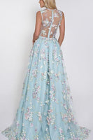 Blue Tulle Appliques V-Neck A-line Sleeveless Long Prom Dresses,JJ1013