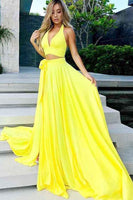 Prom dress ,harming Yellow Satin Two Piece V-Neck Long Prom Party Dresses with Split,JJ1030