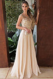 Elegant Chiffon Round Neck Cap Sleeves Long A Line Prom Dress with Beading, JJ1034