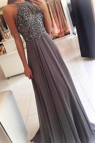 Grey Chiffon Halter Long Prom Dresses with Beading Homecoming Formal Dress for Girls,JJ1035