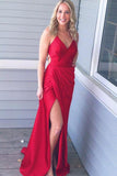 Simple Red Satin Sheath Spaghetti Straps Long Prom Dress with Side Split, JJ1038