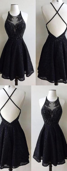 Black Homecoming Dress, Homecoming Dress Short, Open Back Homecoming Dress,JJ1039