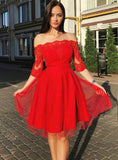 Red Tulle Lace Appliques Off the Shoulder Half Sleeve Homecoming Dress,JJ1044