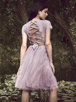 Pink Tulle Cap Sleeve Lace Applqiues Homecoming Dress,JJ1045
