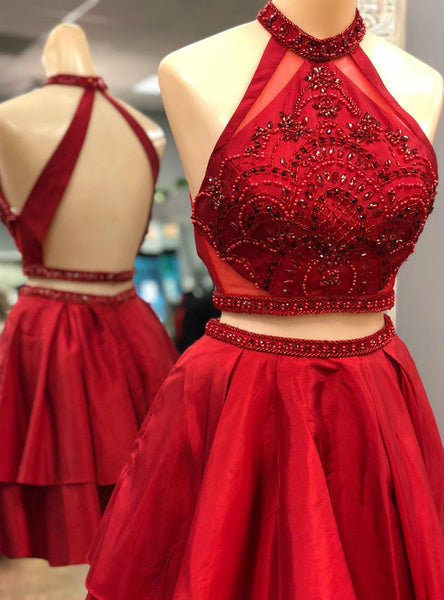 Two Piece Red Satin Halter Backless Homecoming Dress With Crystal,JJ1053