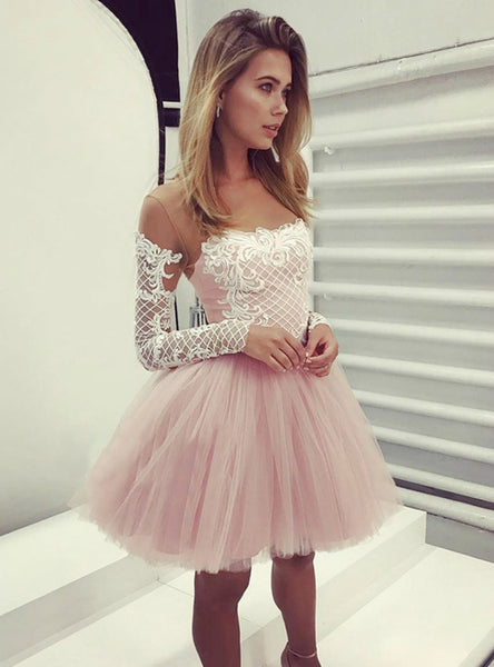 A Line Pink Short Long Sleeves Homecoming Dress With Appliques,JJ1056