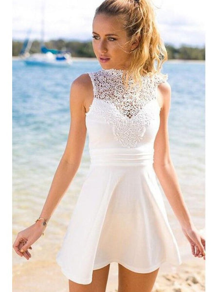 , Homecoming Dress White, Homecoming Dress Short,JJ1062
