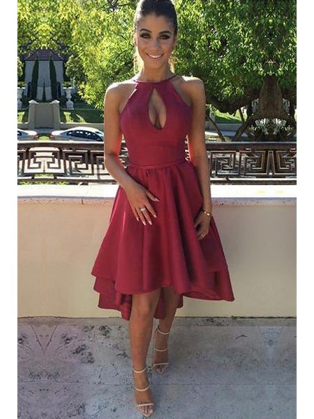 A-Line Dress, Two Pieces Homecoming Dress, Homecoming Dress Short, Burgundy Homecoming Dress ,JJ10067