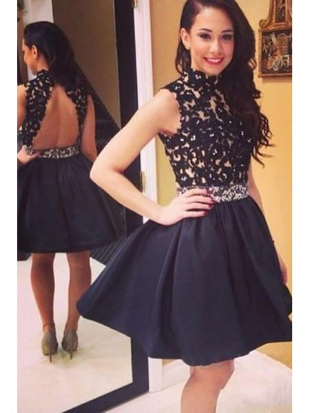 Backless homecoming Dresses, Short Homecoming  Dresses, High Neck Homecoming  Dresses, Homecoming dress,JJ1068