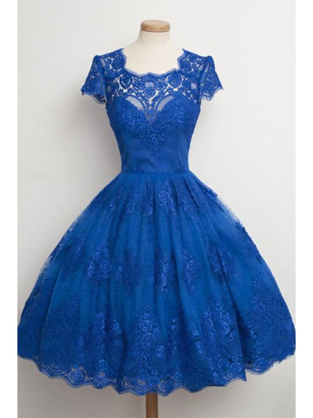 Luxurious Royal Blue Homecoming Dress,Scalloped-Edge Ball Knee-Length Dress,JJ1071